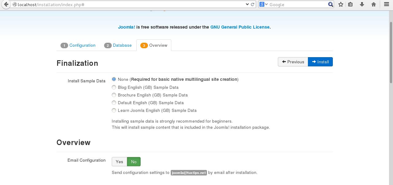 Joomla installation on CentOS 7 step 3
