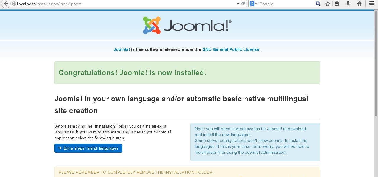 Joomla installation on CentOS 7 step 4