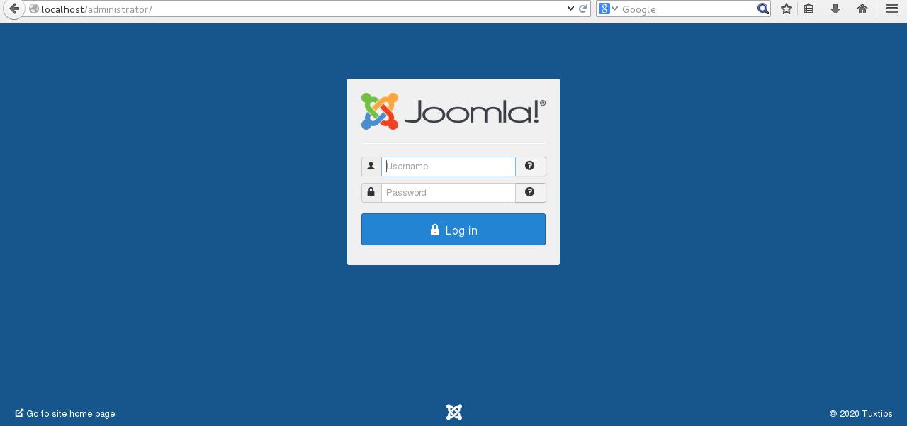 Joomla installation on CentOS 7 step 6